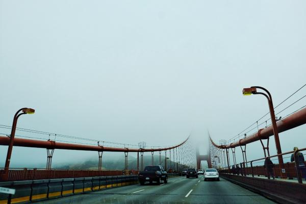 Driving Over a Fog Covered Golden Gate Bridge